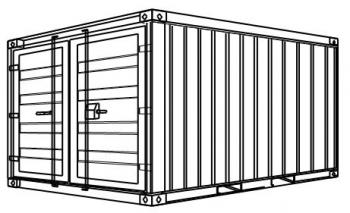 S5-Öko - Stahlcontainer mit Wanne - 2,99 x 2,44 x 2,59 m, 10' Lager