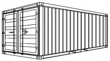 S3-Öko - Stahlcontainer mit Wanne - 6,06 x 2,44 x 2,59 m, 20' Lager