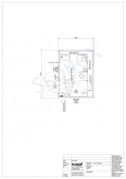 20OPPG 0366 - Barrierefreier Dusch- / WC-Container mit Holzfassade und Vorwand, Wand- & Bodenfliesen