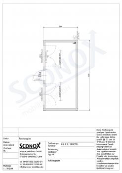 20OPPG 0619 - Bürocontainer 18m², 2 Fenster, Tür mit Glasausschnitt, Dämmung nach EneV