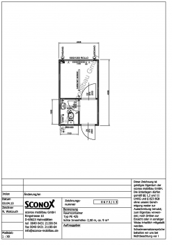 Bürocontainer ca. 10 m², mit Windfang und WC-Einbau - 2130673