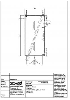 2132149 - isolierter Lagercontainer / Technikcontainer 18 m², mit Gehtür und doppelflg. Außentür