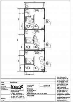 2131398 - Dusch/WC-Container, 9 m*3 m, 3 Einzelzellen
