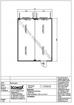 2131378 - Bürocontainer-Doppelanlage, Standard / Basis, ca. 30 m² Grundfläche