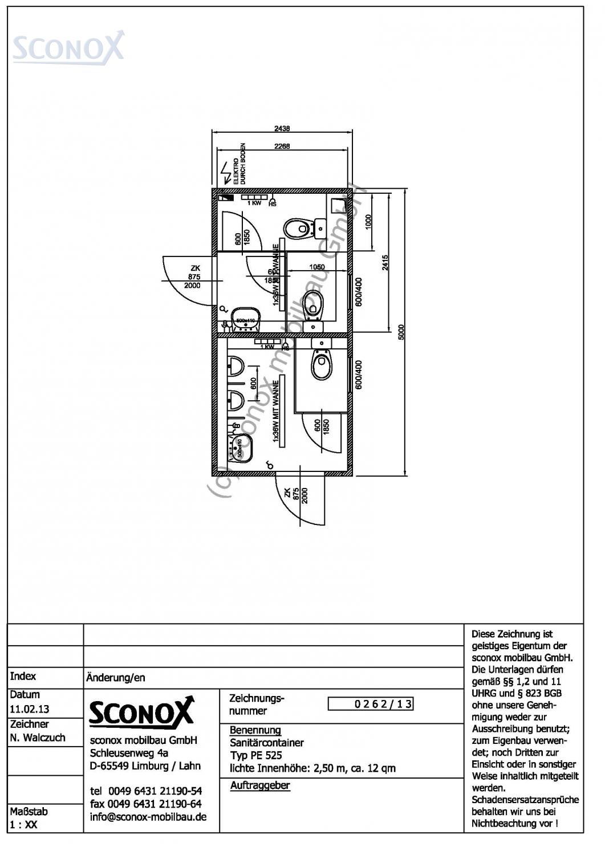 2130262 damen herren wc 5 m 2 50 m sconox gmbh b rocontainer preise. Black Bedroom Furniture Sets. Home Design Ideas