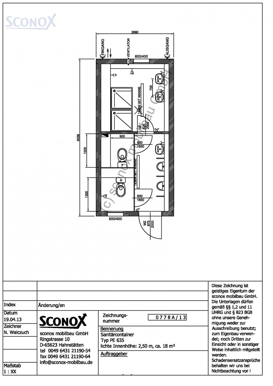 2130778a dusch wc container 6 m 3 m sconox gmbh. Black Bedroom Furniture Sets. Home Design Ideas