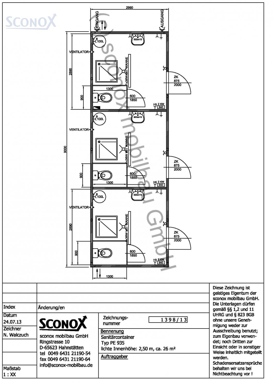 2131398 dusch wc container 9 m 3m 3 einzelzellen. Black Bedroom Furniture Sets. Home Design Ideas