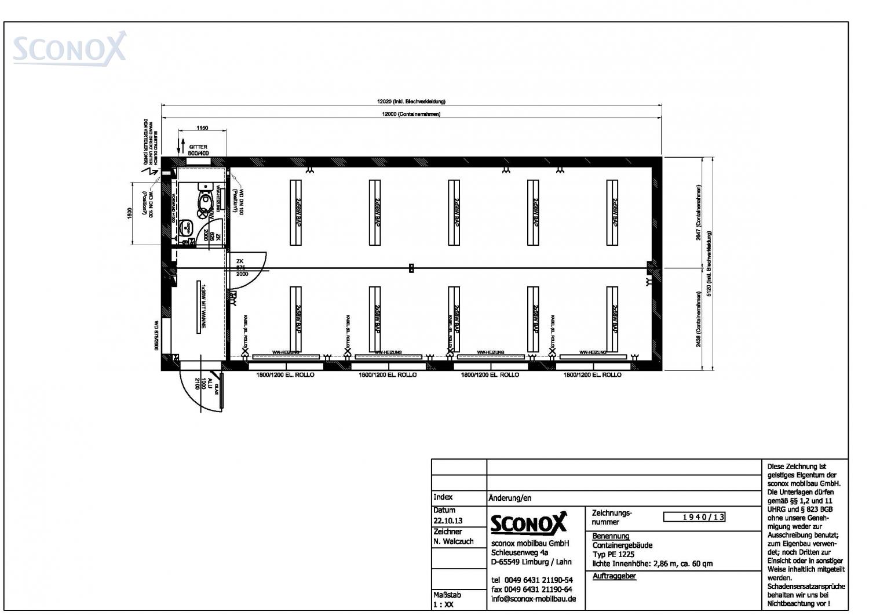 2131940 gro raum aus b rocontainern m wc 60 qm sconox gmbh b rocontainer preise. Black Bedroom Furniture Sets. Home Design Ideas