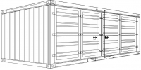 So3-2 - Stahlcontainer - 6,06 x 2,44 x 2,59 m, 20' Faltflügeltor (open side)